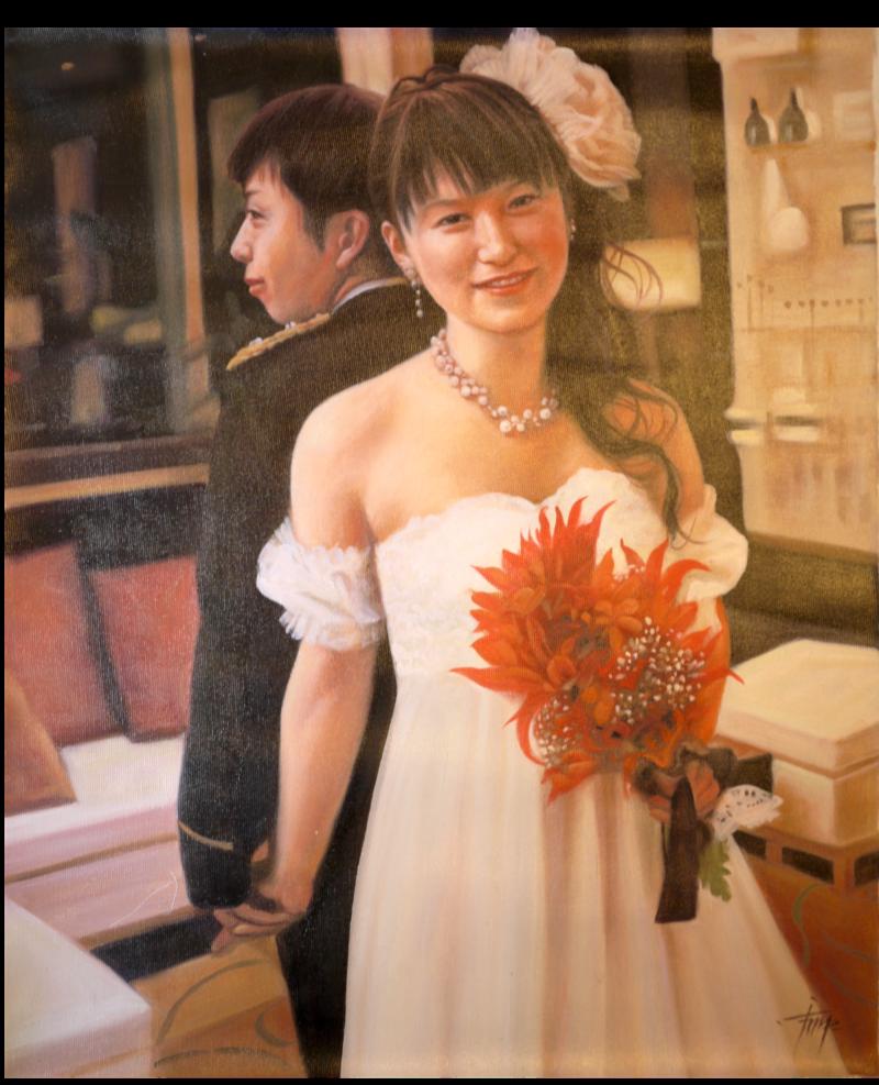 結婚カップル油絵