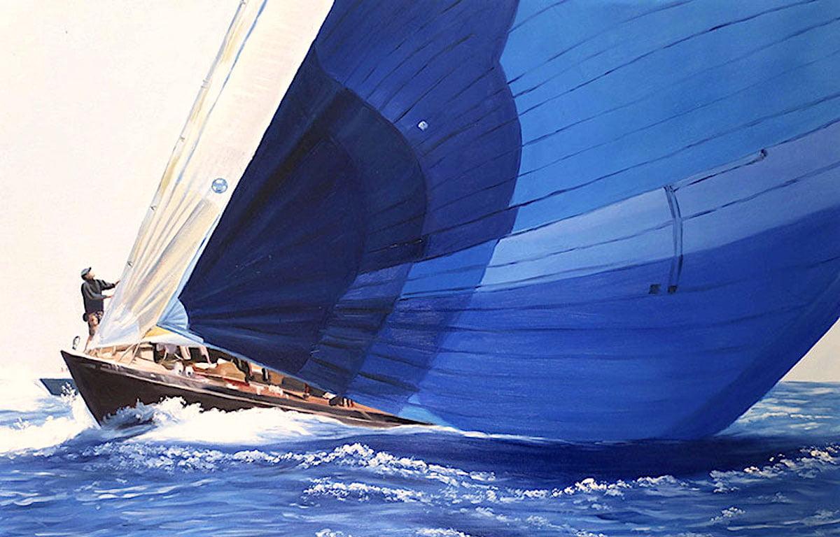 油絵乗り物画(セーリングボート)