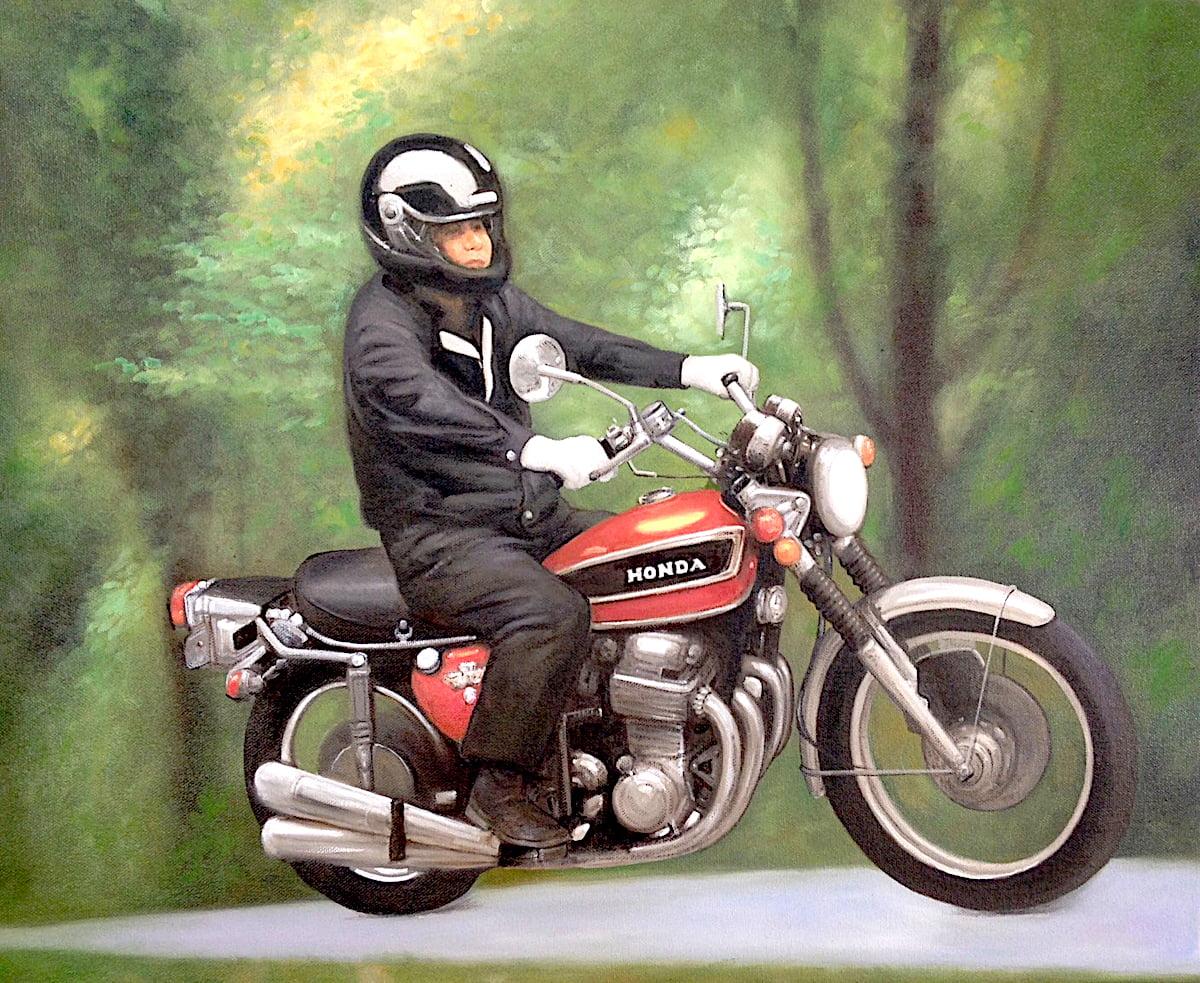 油絵乗り物画(ホンダバイク)