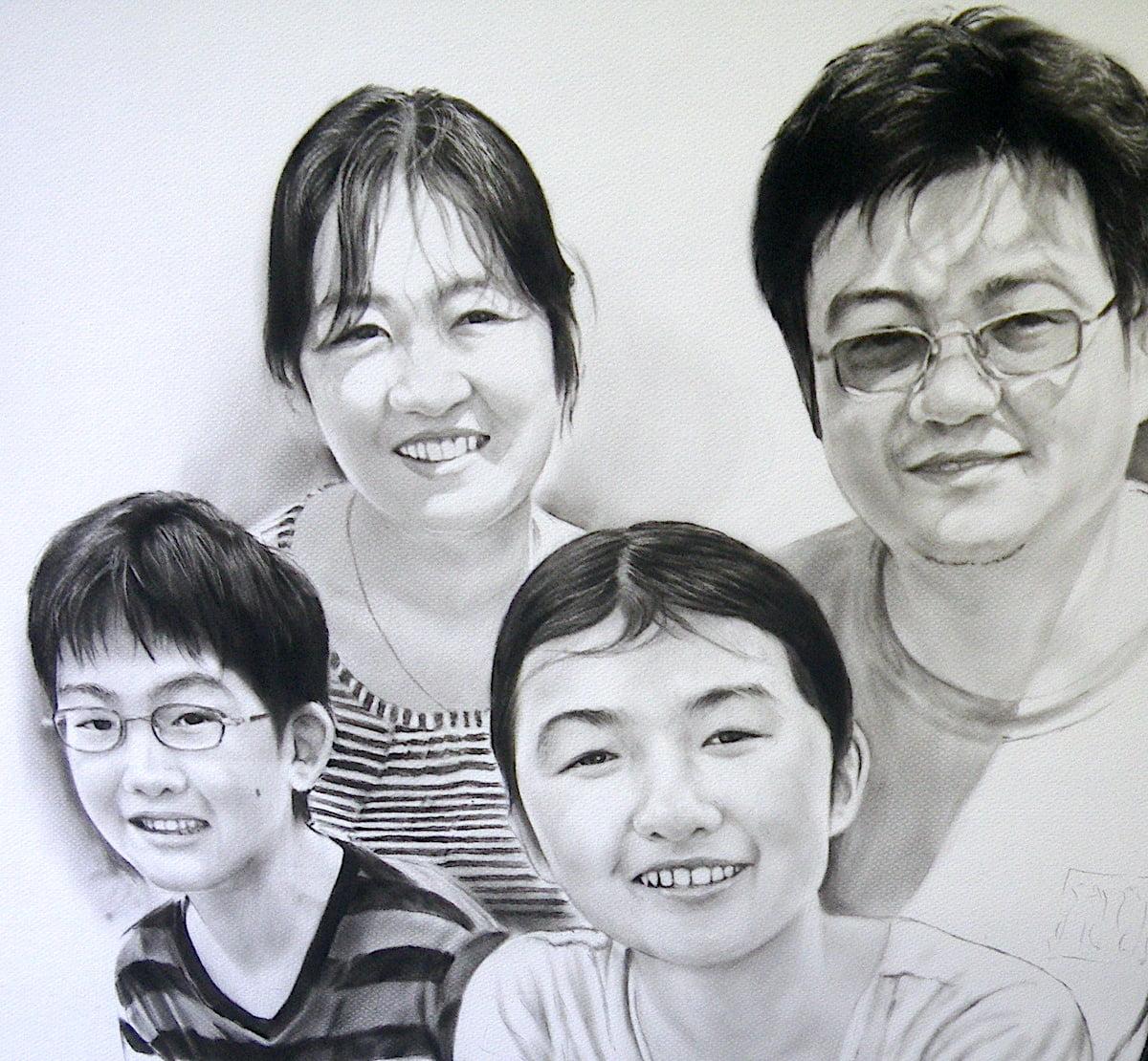 木炭肖像画(ファミリー)