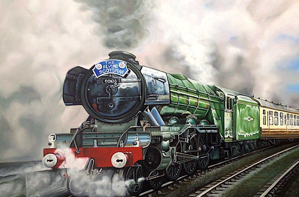 油絵乗り物画(SL・蒸気機関車)