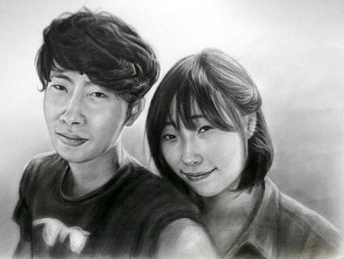 木炭肖像画(カップル)